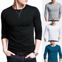 Men Slim Fit Long Sleeve Plain T-shirts Crew Neck Casual Tee Shirt Tops Pullover
