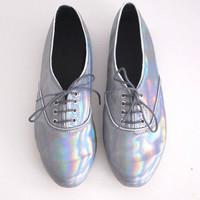 Holographic iridescent faux leather pony oxford shoes