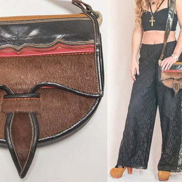 Tribal Fur and Leather Crossbody Bag | Hippie Native American Gypsy Purse | Leather Handbag 70s Vintage Boho Bag | Unique Festival Bag