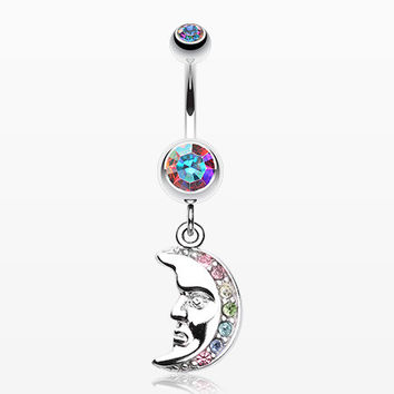 Crescent Moon Face Belly Button Ring