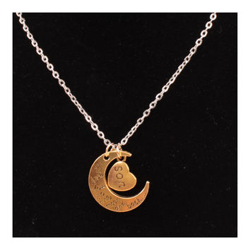 X329 love Valentine's Day love couple of European and American moon necklace ebay jewelry supply  SON GOLD