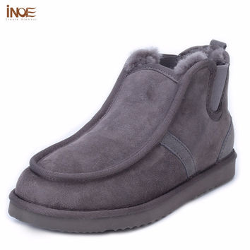 INOE fashion Beckham same style real sheepskin leather suede winter snow boots for men nature wool fur lined lazy winter shoes