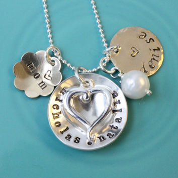 Mother's necklace personalized hand stamped name charms Sterling Silver brass mixed metal pearl vintage style gift for mom mommy jewelry