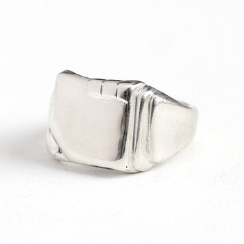 Vintage Blank Signet - Bright Sterling Silver Statement Ring - Men's 1950's Mid Century Retro Handsome Size 11 1/4 Jewelry Gift for Him