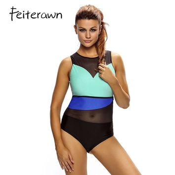 Feiterawn 2018 Women Sexy Swimwear Color Block Sheer Mesh Insert One Piece Swimsuit Plus Size Monokini Bathing Suit DL410052