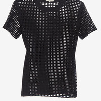 IRO Square Perforated Tee: Black-IRO-Designers-Categories- IntermixOnline.com