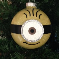 "Minion Christmas Glitter Ornament 3.25"" Glass Ball"