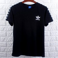 Adidas Tide brand men and women models chest small logo breathable sports casual round neck T-shirt black