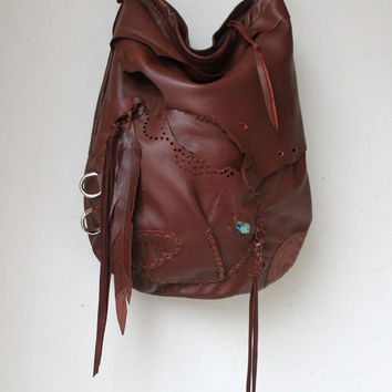 Burgundy brown leather hobo bag fringe artistan purse bohemian african jungle distressed raw leather festival free people