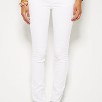 Jayden Mid-Rise Skinny Jeans in White