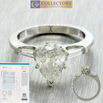 2.35ctw GIA Certified Pear & Tapered Baguette Diamond Platinum Engagement Ring