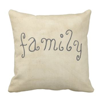 quote pillow distessed sepia and tan with family