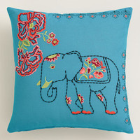 Elephant and Flowers Throw Pillow - World Market