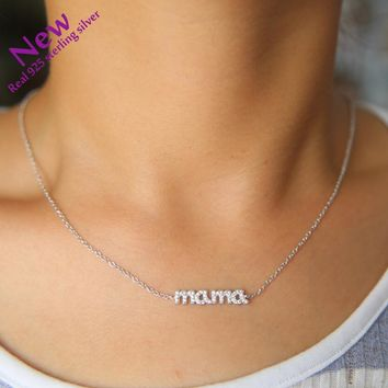 trendy tiny neck Genuine 925 fine silver Pendant Necklaces Gifts Jewelry Love Family Simple Mama Necklace Cz Link Chain Forever
