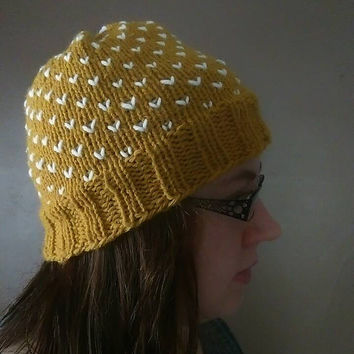 Yellow and White Knit Winter Hat