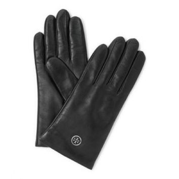 Tory Burch Black Leather Logo Tech Gloves 34% off retail