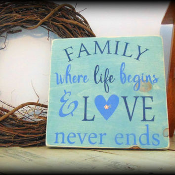 Family Sign, Cottage Style Decor, Blue Sign, Blue Decor, Rustic Wooden Sign, Farmhouse Sign,Farmhouse Wall Decor,Cottage Signs,Handmade Sign