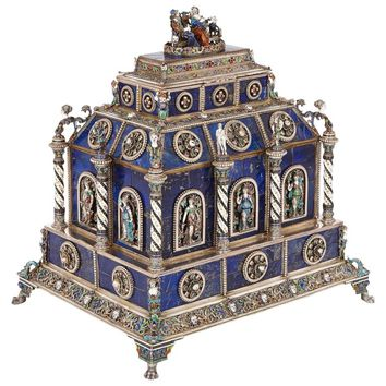 Antique Viennese Enamel and Silver Mounted Lapis Lazuli Casket by Hermann Bohm