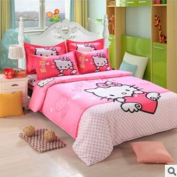promotional  cartoon bedding set 4pcs bed sheet duvet cover pillowcase full & Queen children adults HA036F