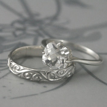 Flourish le Femme Engagement Ring Set--Sterling Silver and Faux Diamond--Engagement Ring and Wedding Band Set