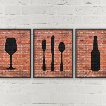 Kitchen Prints Beer Wine Fork Knife Spoon Art - Dining Room Wall Art - Dining Prints - Set of 3 Prints - Hipster Kitchen Wall Decor