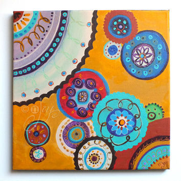 Abstract Painting, circles, 12x12 acrylic, art for office, home decor
