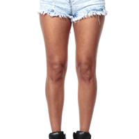 All Buttoned Up Acid Washed Cut Off Shorts