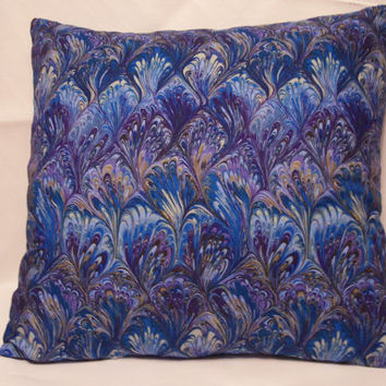 Decorative Pillow Cover, Throw pillow Cover Single 16 x 16 Peacock Feather Pattern, Blue, Purple, Color Splash
