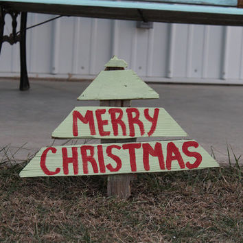 Wood Christmas Tree Yard Stake- Yard Art- Yard Decor- Christmas- Outdoor Decor- Christmas Decoration- Hand Painted- Handmade- Reclaimed Wood