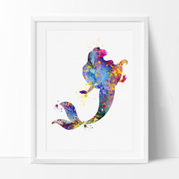 Ariel Mermaid Watercolor illustrations Disney Art Print Wall Art Nursery Poster Giclee Wall Decor Art Poster (92)