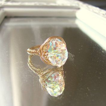 Gold Diamond Ring BRIDAL Gold Wire Diamond by whiteliliedesigns