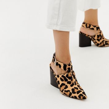 ASOS DESIGN Tiger leopard print leather pointed heeled shoes at asos.com