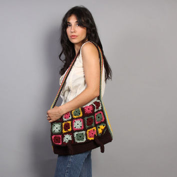 1970s Granny square KNIT BAG / Boho Hippie Oversized Purse