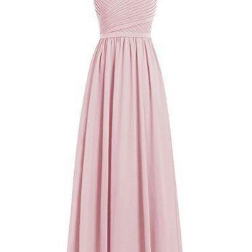 Fashion Plaza Women Long Bridesmaid Dress V-neck Chiffon Prom Dress Lace Evening Party Dress