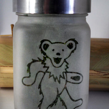 Dancing Bear Etched Glass Stash Jar inspired by the Grateful Dead- Free UPGRADE to Priority Mail within the US