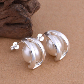 Ecoday Trendy Pearl Round Earrings For Women