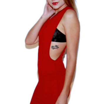 Off-The-Deep Side Cut Out Dress in Red