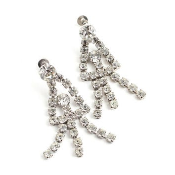 Vintage Dangly Rhinestone Clip On Earrings -  Silver Tone Faux Diamond Screw Back Costume Jewelry - Clear Crystal Chandeliers