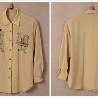 Vintage vol4 shirts: yellow Istanbol castle/red boyfriend style/grey ballet embroid/yellow lady makeup embroid shirt