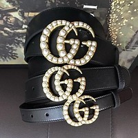 GUCCI Hot Sale Double G Pearl Smooth Buckle Leather Belt I/A
