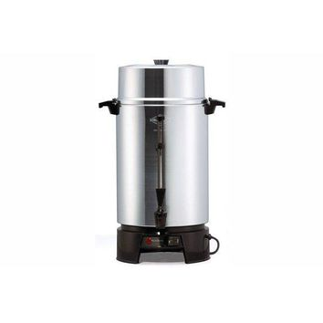 West Bend® 33600 Commercial Coffee Urn, Polished Aluminum, 100-Cup