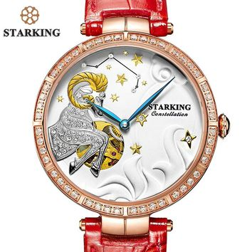 STARKING New Arrival Unique ARIES Design Luxury Brand Dress Watch Women Elegant Leisure Gold Crystal Lady Mechanical Wristwatch
