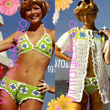 INSTANT DOWNlOAD - PdF Pattern - Bikini Crochet PATTERN Granny Square CoverUp Pattern Jacket 1970s Vintage Crochet Pattern Bra Top Summer