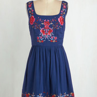 Boho Mid-length Tank top (2 thick straps) A-line Judy Blue Skies Dress in Cobalt by ModCloth