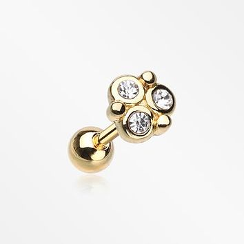Golden Trinity Sparkle Cartilage Tragus Stud Earring
