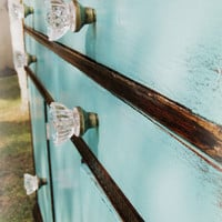 Vintage Hollywood Glam Buffet makeover//Vanity//Turquoi­se//Chest of Drawers//Shabby Chic//