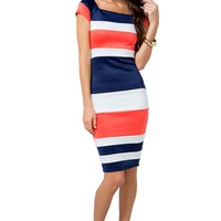 Colorblock Stripe Midi Dress