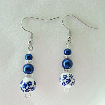 Blue Dangle Earrings, Blue Flower Earrings, Beaded Earrings, Dainty Earrings, Blue And Rhinestone Earrings, Silver Earrings, Trending Now
