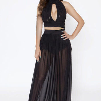 Black Halter Front Cut Out Maxi Dress with Mesh Accent