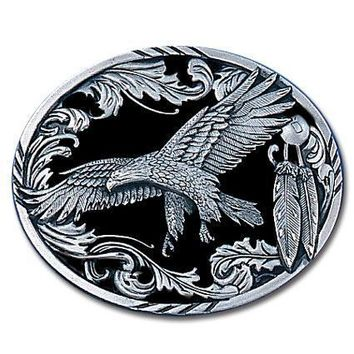 Sports Accessories - Eagle in Flight with Western Scroll Enameled Belt Buckle